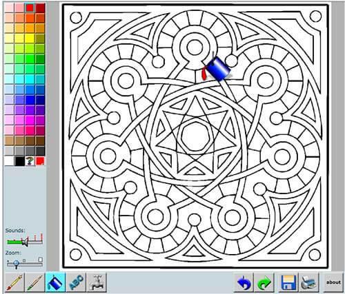 Plataforma online para colorear mandalas